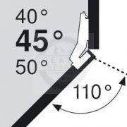 Blum 79T5550 sarok, szögben álló pánt, típus II csavar rögzítésű,  45/110°