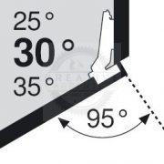 Blum 79A9556.T1 sarok, szögben álló pánt, típus II csavar rögzítésű,  30/95°