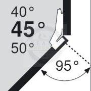 Blum 79A9658.T sarok, szögben álló pánt, típus I csavar rögzítésű,  45/95°