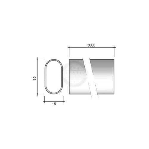 Ruharúd ovális 30/15/3000mm króm