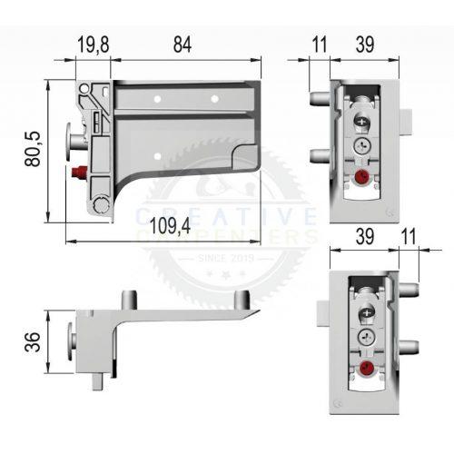 Italiana Ferramenta Libra H7 alsó szekrények függesztésére J+B