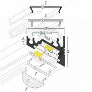 TM-profil LED Corner eloxált alumínium 4000mm