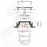 TM-profil LED Groove eloxált alumínium 4000mm