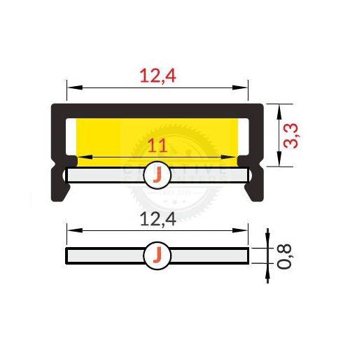 TM-takaró profil Begtin/Begton rápattintható/kihúzható transzparens 3000mm